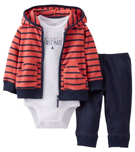 Carter's 3 Piece Cardigan Set (Baby) - Red-9 Months