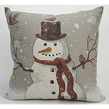 Snowman Christmas Theme Throw Pillow Case Cotton Blend Linen Cushion Cover  Sofa Decorative Square 18 Inches