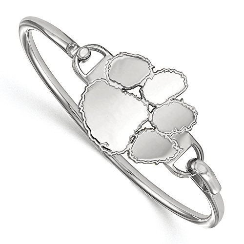 NCAA Sterling Silver Clemson University Lg Tiger Paw Bangle, 6 inch by LogoArt