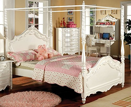 Finished Poster Bed (247SHOPATHOME IDF-7519T Childrens-Bed-Frames, Twin, White)