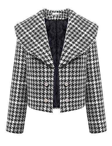 Bianca Houndstooth Lunga Hipster Cappotto Abbottonatura Di Outerwear Elegante Moda Manica Donna Primaverile Stlie Grazioso Giacca Autunno Corto Giaccone w6TxnRpFq