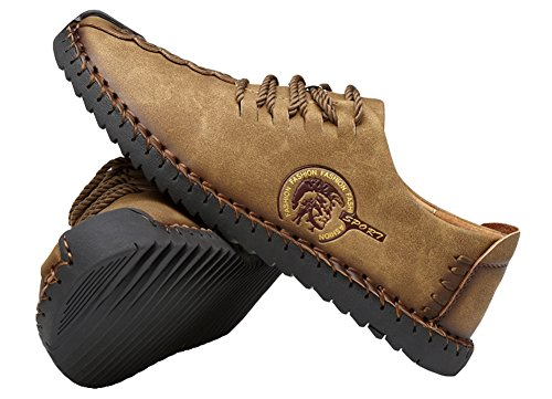 Agowoo Marée Doux Antidérapant Lace Up Hommes Chaussures Casual Kaki