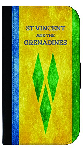 St. Vincent and the Grenadines Grunge Flag - TM Wallet Style Phone Case Compatible with the Standard Apple iPhone 7/ Apple iPhone 8 - - St Style Vincent