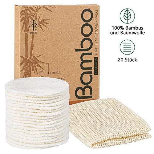 SPACES® Waschbare Abschminkpads  20 Stück Wiederverwendbare Wattepads aus Bambus und Baumwolle   Umweltfreundlich  Weich & Schonend Abschminktücher   INKL. Wäschenetz  Perfekt für Gesichtsreinigung