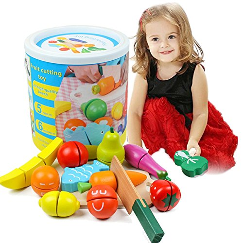Cut Food - Lewo Wooden Pretend Play Food Educational Toys Pretend Role Play Cutting Food Set for Kids