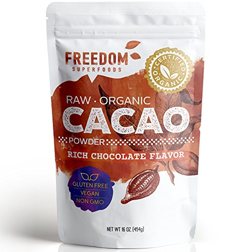 Organic Raw Cacao Powder - Best Dark Chocolate Taste - Pure Natural Unsweetened Cocoa 1lb/ 16oz (Pure Organic Chocolate)