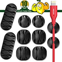 Cable Clips, Cable Management, Cord Organizer Wire Cable Clip Holders Cable Manage System with Advanced Long Lasting Acrylic Gum for Desktop PC Laptop TV Home Office - 10 Pack
