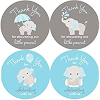 2 Inch Thank You Stickers Gray Elephant Labels Set of 60