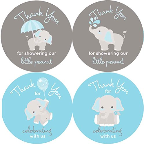 2 Inch Thank You Stickers Gray Elephant Set of 60 (Blue) -