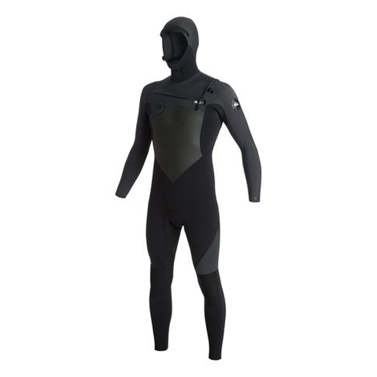 Quiksilver 5/4/3mm Syncro Series Chest Zip GBS Hooded Men's Full Wetsuits - Black/Jet Black/Large Short by Quiksilver