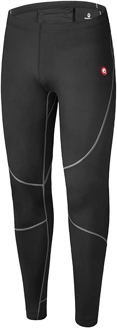 qualidyne Men's Thermal Compression Pants - Running Leggings Tights with Pocket for Workout, Gym, Cycling & Hiking (X-Large, Thermal-Black)