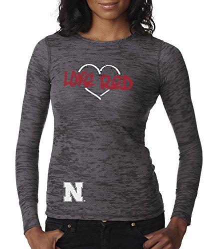 CornBorn Nebraska Huskers Love RED Heart Premium Long Sleeve Thermal Burnout Shirt - Dark Gray - Small