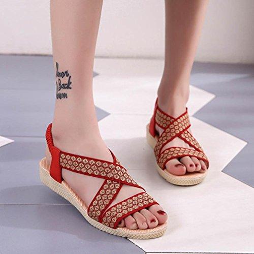 Bohemia Playa Zapatos Cuero Zapatillas Las C Moda de Cruz Planas Bailarinas y Plana ASHOP Verano Sandalias de Cordones Mujer Sandalias De Chanclas Romana Yxn4gxwfaE