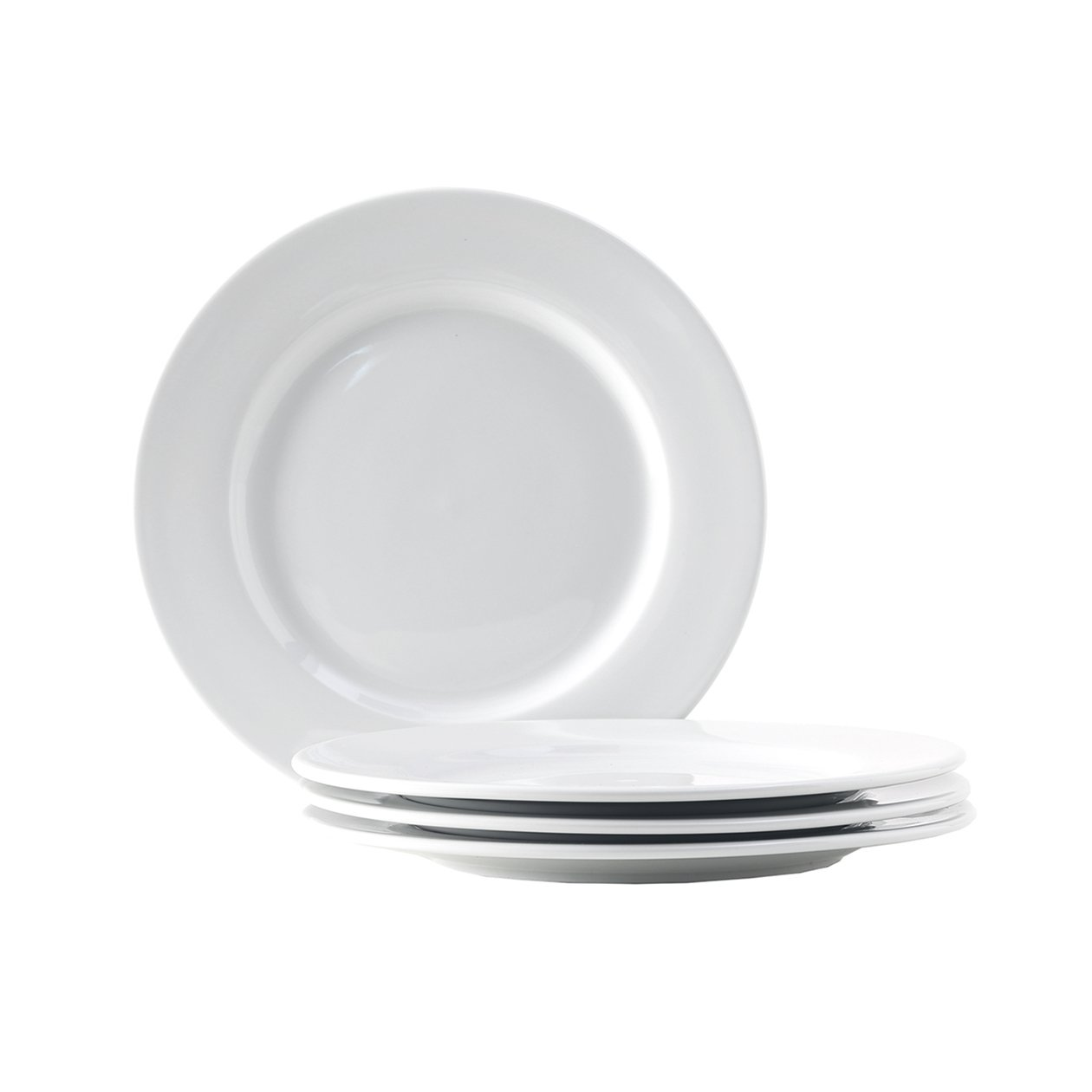 Set of 4; Heavy Duty; Chip Resistant; Lead and Cadmium Free; Freezer to Oven Safe up to 500F Tuxton Home Alaska Porcelain White Wide Rim 7-1//2 Salad Plate