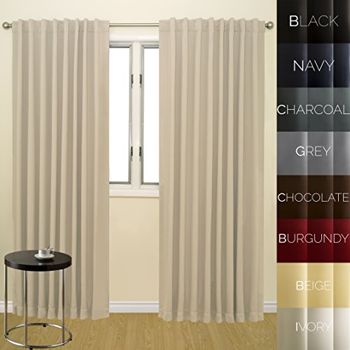 Prestige Home Fashion Wide Width Thermal Insulated Blackout Curtain – Back Tab / Rod Pocket – Ivory – 76