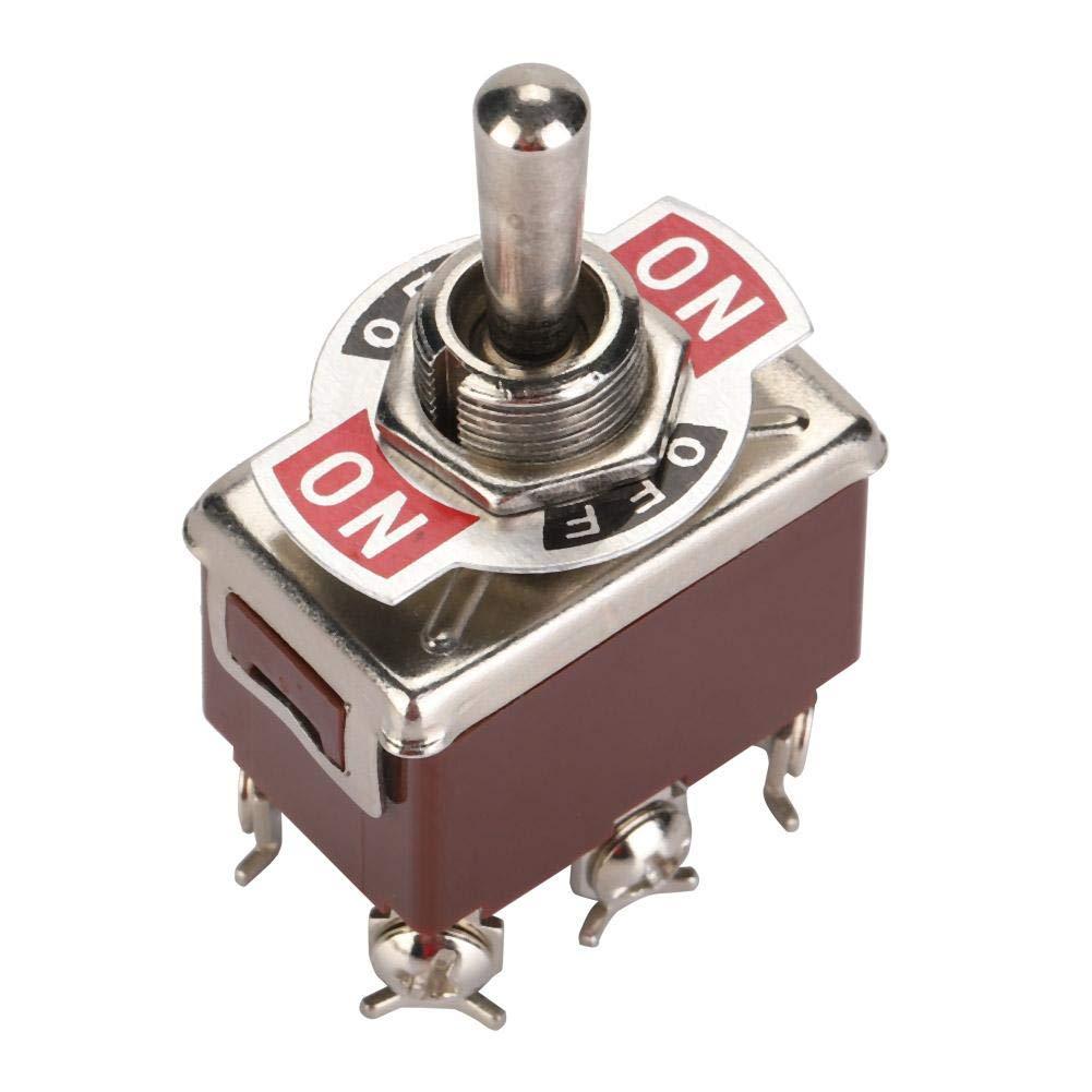 5PCS DPDT 6-poliger 3-Positionen-Kippschalter Terninal EIN-AUS-EIN Mini-Kippschalter Touch 250V 15A Kippschalter 12 mm Montageloch f/ür mechanisches Ventil
