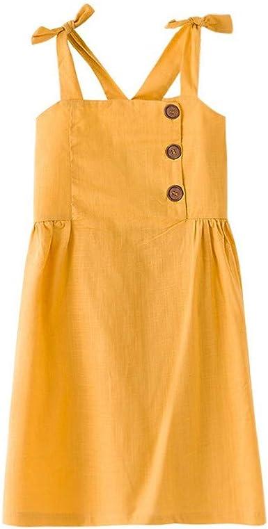 Samgu Robe D Ete Jaune Pour Fille Coton Amazon Fr Vetements Et Accessoires