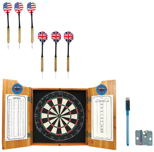 NCAA DePaul University Wood Dart Cabinet Set by Trademark Gameroom