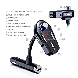 VicTsing Wireless In-Car Bluetooth FM Transmitter Radio Adapter Car Kit With Dual USB Car Charger for iPhone,Androidphone,Supoprt Siri Activation