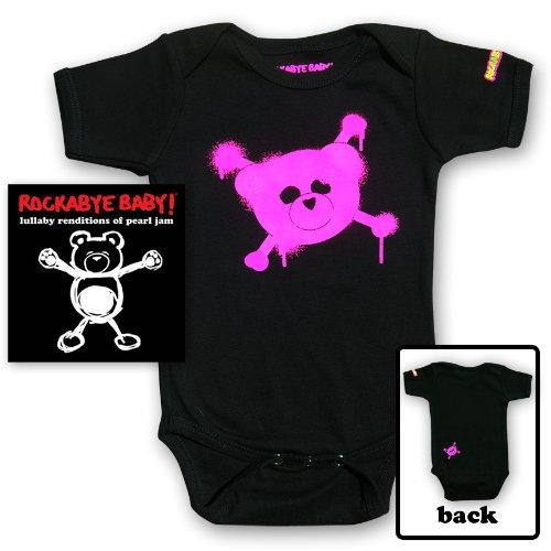 Rockabye Baby! Lullaby Renditions of Pearl Jam + 100% Organic Cotton Bodysuit (Pink) ()