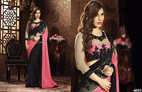 Aarah-Womens-Ethnic-Wedding-And-Party-Wear-Saree-Free-Size-Light-Pink-And-Black