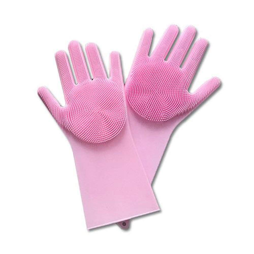 YJYDADA Magic Reusable Silicone Gloves Cleaning Brush Scrubber Gloves Heat Resistant (Pink) by YJYDADA (Image #2)