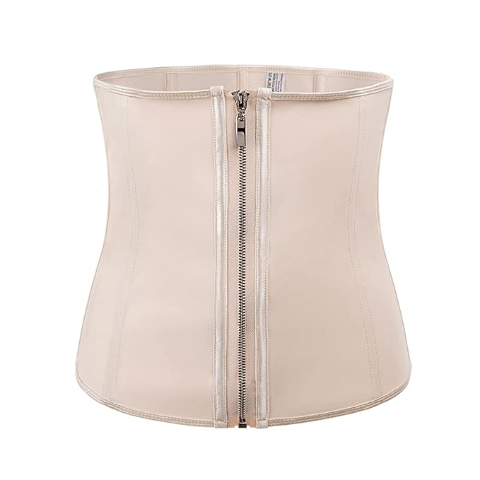 1c256b1d80e EJZO Corset Body Shaper Latex Rubber Waist Trainer Underbust Zipper  Slimming Cincher (Beige