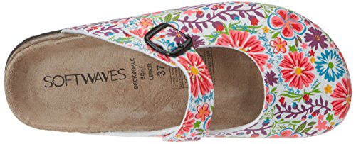 softwaves 276 057 - Zuecos de material sintético mujer Mehrfarbig (WHITE MULTI)