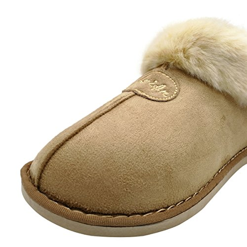 Fuzzy Boot On Shoes Cozy Foam Ankle Indoor House Faux Slipper Memory Fur Khaki Womens Slip Booties Plush Suede Zax4wIq