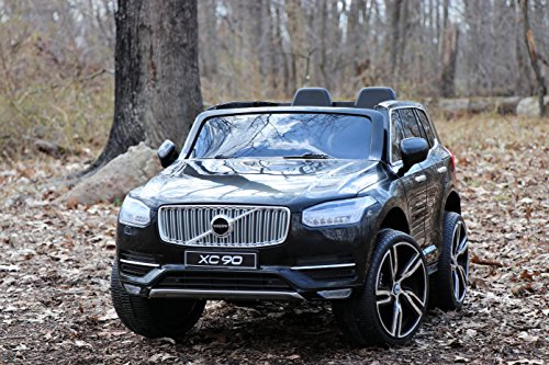 - First Drive Volvo XC90 Black 12v Kids Cars - Dual Motor Electric Power Ride On Car with Remote, MP3, Aux Cord, Led Headlights, and Premium Wheels
