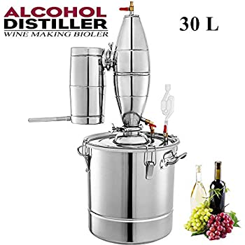 ECO-WORTHY 30L 7.9 Gal Water Alcohol Distiller Kit 304 Stainless Steel Distillery Moonshine Wine Making Boiler with Thermometer Home Brewing Kit