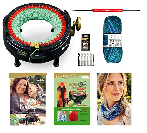 New Improved Version Of addi Express Kingsize Extended Starter Kit With New Improved Mechanical Row Counter. Knitting Machine, 2 Pattern Books, Hook, Replacement Needles, Stopper, Yarn ()