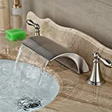 Sukmw Brand New Roman Waterfall Brushed Nickel Bathroom Faucet 3 Holes Vessel Sink Mixer Tap