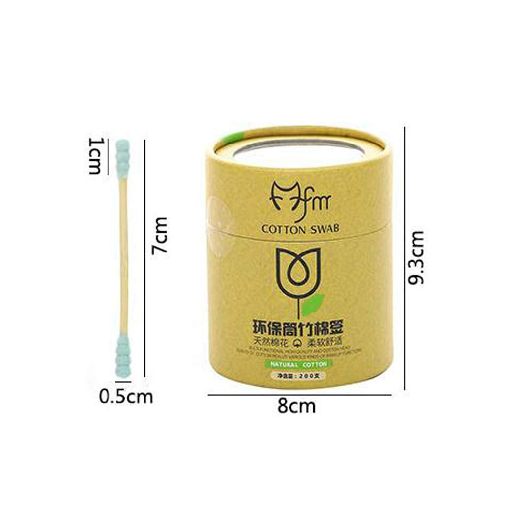Tubicu 200Pcs Bamboo Cotton Buds Swab Wood Sticks Disposable Double-Headed Makeup Tools