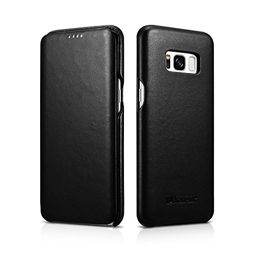 Samsung Galaxy S8 Plus Leather Case, icarercase Luxury Series Genuine/ Real Leather [Magnetic Closure] Full Body & Curved Edge Protection Side-Opening Folio Flip Case (Luxury Black)