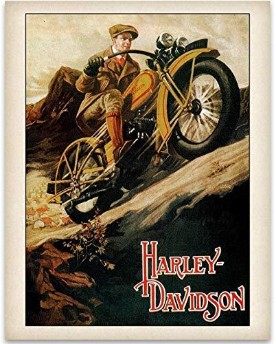 (Old Harley Davidson Poster - 11x14 Unframed Art Print - Great Gift Under $15 for Bikers )