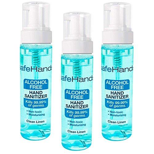 SafeHands #1 Alcohol Free Foam Hand Sanitizer Brand, Clean Linen, 7 Oz (3-Pack)