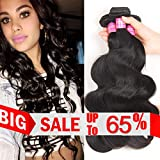 VRBest Hair Unprocessed Brazilian Virgin Hair Body Wave 3 Bundles Virgin Human Hair Extensions Natural Color Remy Hair (12 14 16)
