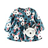 CSSD Newborn Baby Girl Cartoon Rabbit Warm Long Sleeve Princess Dress+Bag Outfits Clothes (100, Light Blue)