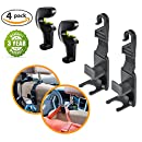 YoGi Prime Universal Headrest Hooks for Cars 4 Pack Purse Hanger very Strong hook And Durable Backseat Storage orgenize your Handbags Purses Coat and Grocery Bags Vehicle Back Headrest Bottle Holder