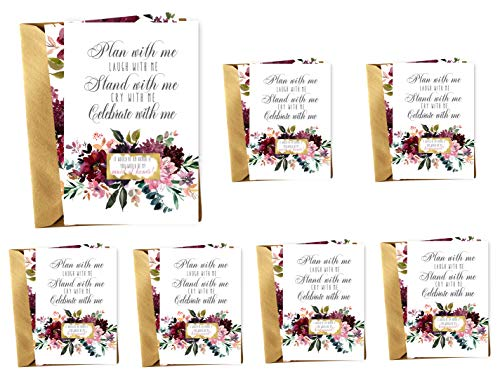 (Shabby Floral Be My Bridesmaid Scratch Off Cards Set of 7 (2 Maid of Honor Invites + 5 Bridesmaid Proposal) With Gold Envelopes - Wedding Attendant Ask Gift)