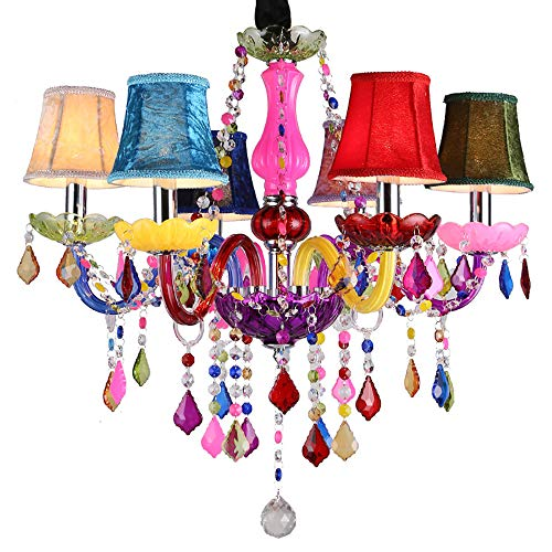 Crystal Glass Color Candle Chandelier Light Coffee Fresh Green Garden Hotel Creative Lamps 6 Heads