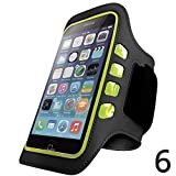 Iphone 6 and 6S Armband - Best for Running, Sports and Workout - LED Lights, Sweatproof, Touch Sensitive, Key Holder - Black