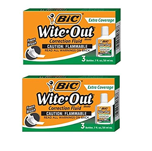 BIC Wite-Out Brand Extra Coverage Correction, White, 2 pack total of 6