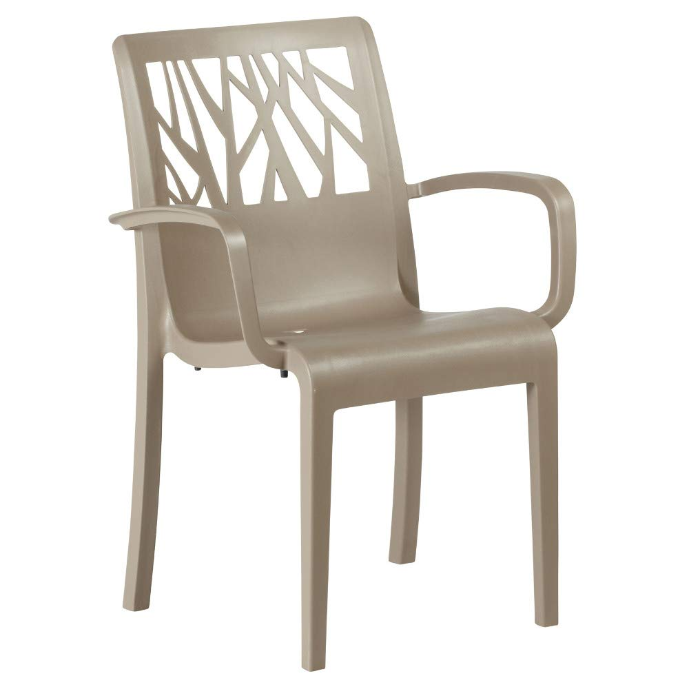 Grosfillex US200181 Vegetal Stacking Armchair, Taupe (Case of 16)