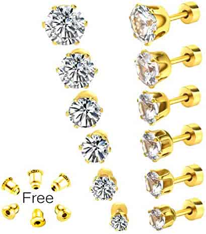 aa0602148 Gorgeouser Unisex White Gold Plating High Polished Surgical Steel 3-8MM AAA  Cubic Zirconia Stud