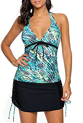 Dokotoo Womens Ladies Padded Double Up Straps High Waist Tankini With Skirted Swimsuit 2 Pieces Swimwear Blue - Piece Maternity Swimsuit