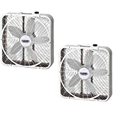 Lasko 3 Speed Weather Shield Performance 20 Box Fan w/ Handle, White (2 Pack)