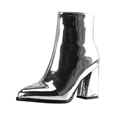 b02fd33608f6d6 Y2Y Studio Femmes Bottines Courtes Vernies avec Zip Sexy Bout Pointu Talon  Bloc 8cm Chunky Heels