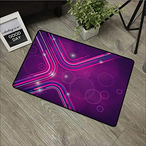(Learning pad W35 x L47 INCH Eggplant,Abstract Purple Parallel Lines in a Violet Environment with Transparent Circles, Violet Pink Easy to Clean, Easy to fold,Non-Slip Door Mat Carpet)